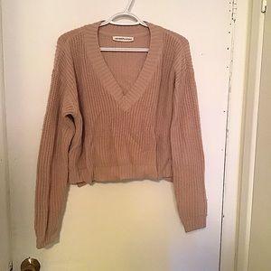 Seven Sisters V-Neck Crop Sweater